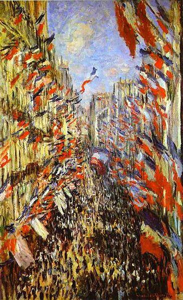 Claude Monet's painting, Rue Montorgueil, Paris, Festival of June 30, 1878. Image courtesy of Wikimedia.